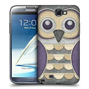Bloutina Head Case Purple Owl Patchwork Back Case Cover For Samsung Galaxy Note Ii N7100