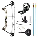 Leader Accessories Compound Bow 30-55lbs Archery Hunting Equipment with Max Speed 296fps (Green Camo. With Kit) For Sale