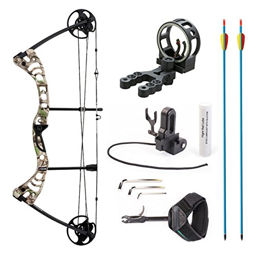Down 30 Spline - Leader Accessories Compound Bow 30-55lbs Archery Hunting Equipment with Max Speed 296fps (Green Camo. with Kit)