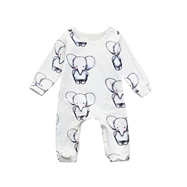 Fashion Newborn Baby Boys Girls Romper Babycartoon Animal Printed Long Sleeve Girls' Clothing (newborn-5t)