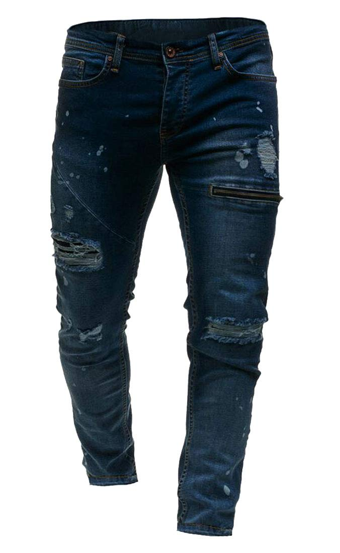 Domple Mens Washed Slim Fit Ripped Zipper Demin Jeans Pants Trousers Blue M