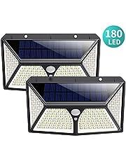 Solar Lights Outdoor, HETTP【Super Bright 180 LED】Solar Security Lights Motion Sensor【270° Four-Sided Lighting 】2500 mAh High Capacity Solar Powered Lights Wall Lights with 3 Intelligent Mode (2 Pack)