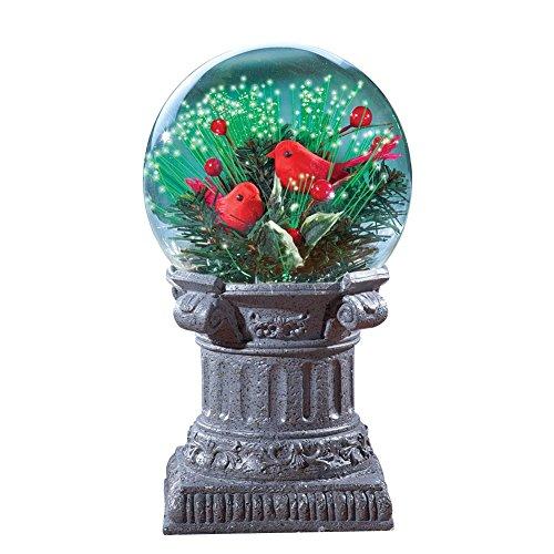 Night Cardinals Light Glass (Collections Etc Fiber Optic Cardinals on Pedestal Solar Christmas Decoration)