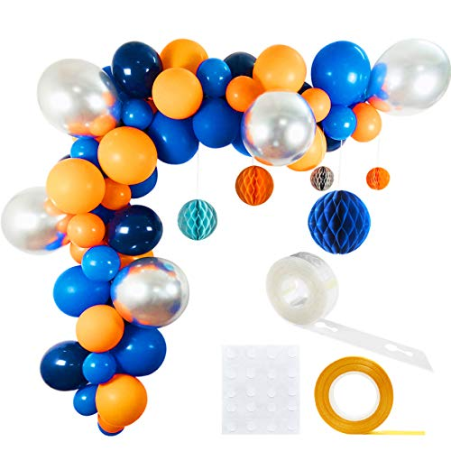 Outer Space Party Balloons 63 Pack, 12inch 5inch Orange Royal Blue Metallic Silver Latex Balloons 10inch Navy Blue Balloon Honeycomb Balls Balloon Strip Set for Baby Shower Birthday Party Supplies (Rocket Birthday)