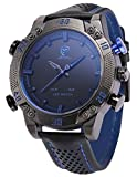 SHARK Men's LED Date Day Alarm Digital Analog Quartz Black Leather Band Wrist Watch SH265 Blue