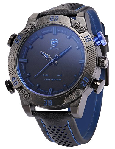 Shark Men's LED Date Day Alarm Digital Analog Quartz Sport Black Leather Band Wrist Watch SH265 (Day Date Series)