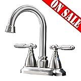 VESLA HOME Modern Stainless Steel Two Handle Bathroom Faucet, Brushed Nickel Bathroom Vanity Sink Faucet
