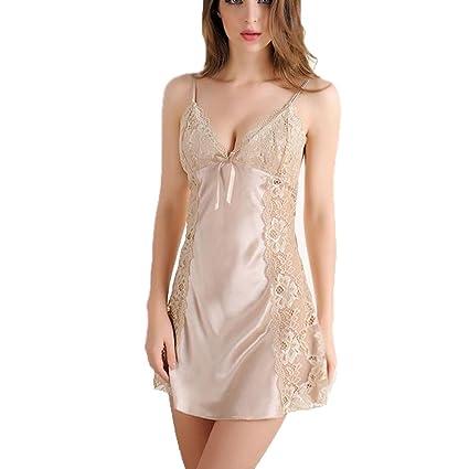 CJC Falda de pijama de lencería sexy Encaje de llamativo emocional romántico Encaje de calado ajustable
