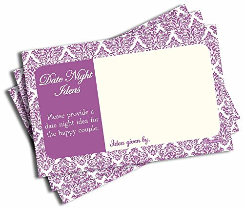Date Night Idea Cards - Bridal Shower - Wedding - Bachelorette - Anniversary - Purple Damask (50-cards) (Plum Light Night)