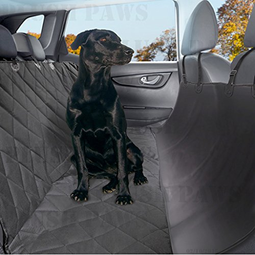 Pet Seat Cover Waterproof 2 Bonus Pet Car Seat Belts & 2 Harness, Hammock, Side Flaps, Seat Anchors, Non Slip Silicone, Quilted, Machine Washable Cars, Trucks, SUVs & Vehicles-Black (Cotton Genuine Belt)