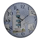 Zeckos Wood Wall Clocks Blue And White Nautical Lighthouse Round Wooden Wall Clock 23 X 23 X 1.5 Inches Blue