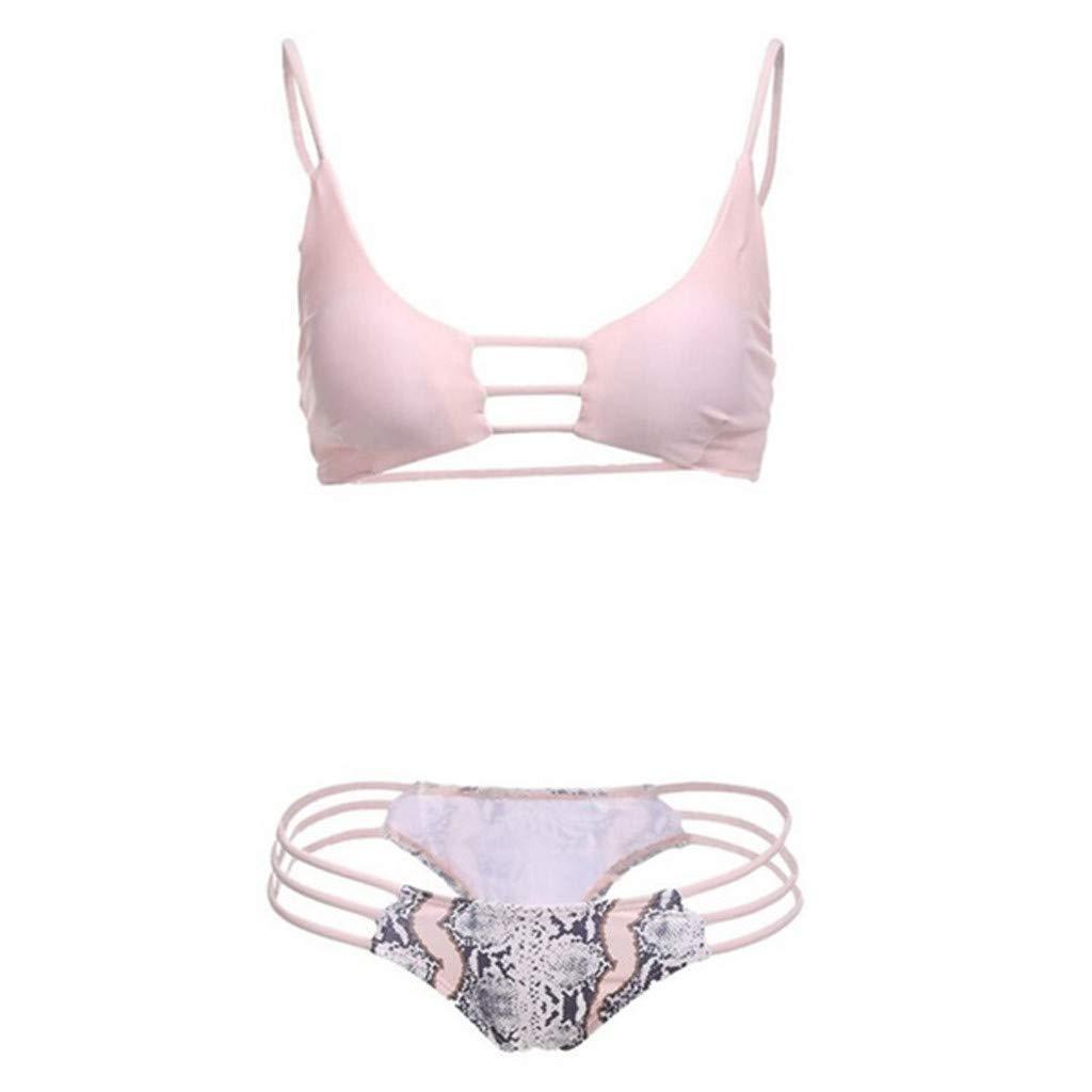 HCFKJ Trajes De BañO Mujer 2019 Bikini De Traje De BañO De Serpiente Dividida En Color Liso Sexy para Mujer: Amazon.es: Ropa y accesorios