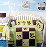 SoHo Baby Crib Bedding 10Pc Set, Suede Green Owl