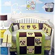Soho Sage & Brown Suede Owls Baby Crib Nursery Bedding Set 13 pcs included Diaper Bag with Changing Pad & Bottle Case