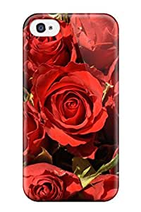 Awesome Flower Red Rose Flip Case With Fashion Design For Iphone 4/4s