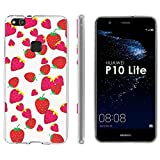 "Huawei P10 Lite TPU Silicone Phone Case [Mobiflare] [Clear] Ultraflex Thin Gel Phone Cover - [Strawberries] for Huawei P10 Lite [5.2"" Screen]"