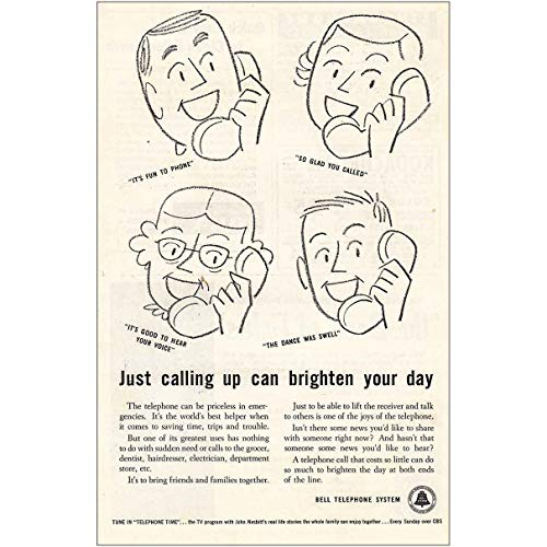 RelicPaper 1956 Bell Telephone: Brighten Your Day, Bell Telephone Print Ad (1956 Bell Telephone)