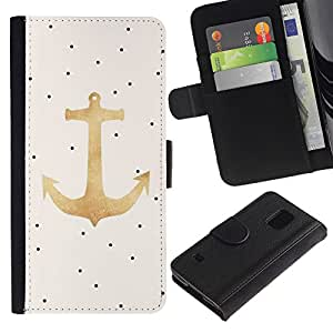 Paccase / Billetera de Cuero Caso del tirón Titular de la tarjeta Carcasa Funda para - Dot Gold Anchor Sailor Boat Captain - Samsung Galaxy S5 V SM-G900