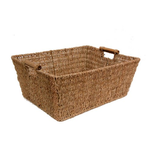 The Lucky Clover Trading Seagrass Storage Basket with Bamboo Accent Handles