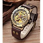 Carrie Hughes Men's Bronze Skeleton Steampunk Automatic Mechanical Leather Watch 7