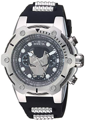Men's Marvel Stainless Steel Quartz Watch with Silicone Strap, Black, 30 (Model: ) - Invicta 26908
