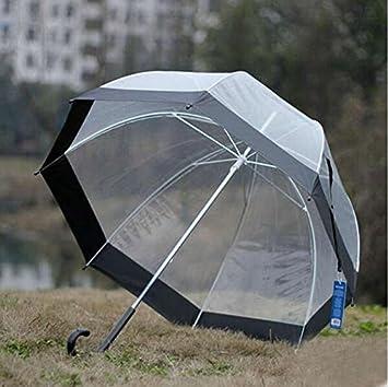WYF-YS Setas reforzado transparente mango largo paraguas pájaro jaula paraguas (Color : C