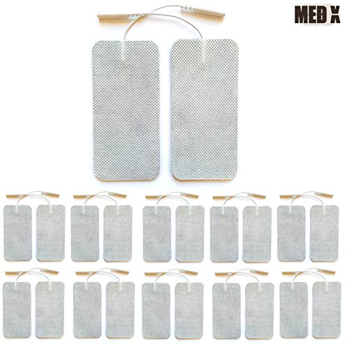 Med X 20 Pack 2x4 inch Large Tens Unit Electrode Pads with Premium Self Stick Gel - Replacement Tens Pads for Tens Units , EMS Units , Pulse Massagers and more