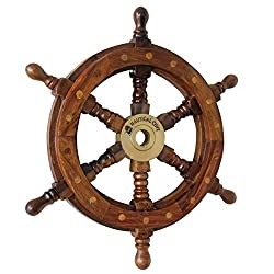Nautical Cove Wooden Ship Wheel 18 Pirate Decor, Ships Wheel for Home, Boats, and Walls
