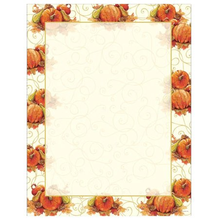 Autumn Pumpkins and Swirls Border Halloween Thanksgiving Computer Printer Paper (50 Sheets)