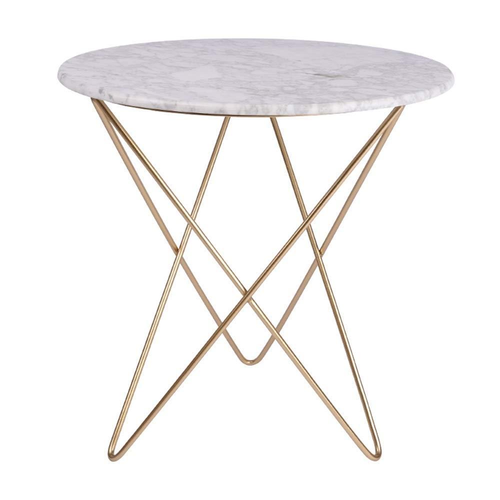 Lsmaa Beistelltische Beistelltisch Marmortischplatte + Metalltischgestell Sofa Wohnzimmer Couchtisch Mode Snack Tisch Runder Tisch 50 * 50cm (weiß) Multi-Function
