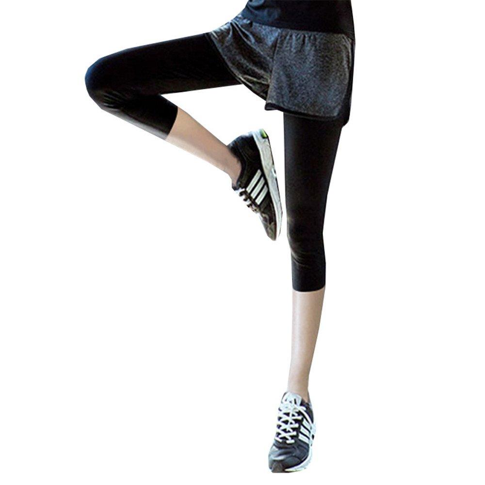 dabag Pantalon de sport 2en 1Yoga Leggings Pantalon de survêtement Fine Fitness Sport Pantalon élastique noir DB-yoga-01