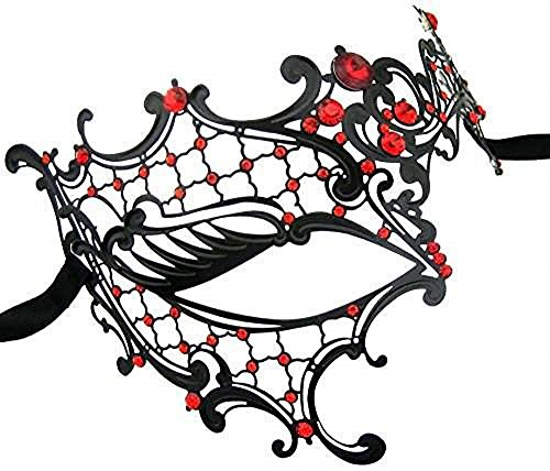 (Venetian Masquerade Phantom Mask with Silver Swarovki - Silver (Black w/ Red)