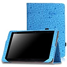 MoKo ASUS Transformer Book T100HA Case - Slim Folding Keyboard Portfolio Cover Case for ASUS Transformer Book T100HA Windows 10 2-in-1 Laptop (Not Fit for T100 Chi), Cutie Charm BLUE