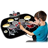 WISHTIME Electric Musical Playmat Toy Instrument Drum Kit Set Includes Headphones with Mic&Drum Sticks MP3/CD Amplifier for Kids
