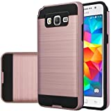 Galaxy Grand Prime Case, Samsung Galaxy Go Prime [Shock / Impact Resistant] Hybrid Dual Layer Armor Defender Protective Case Cover for Galaxy Grand Prime / Go Prime, (Rose Gold Brush Aluminum Texture)