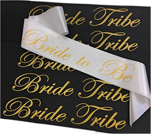 Bachelorette Party 6 Piece Sash Set - 5 Bride Tribe Sashes in Black and 1 Bride to Be Sash in White with Gold Letters