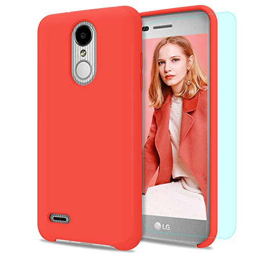2 Plus Case LG Aristo 2/LG Tribute Dynasty/LG Zone 4/LG Fortune 2/LG K8 2018/LG Risio 3/LG Rebel 3 LTE with Screen Protector,Liquid Silicone Rubber Full Body Cover SFGJ Orange ()