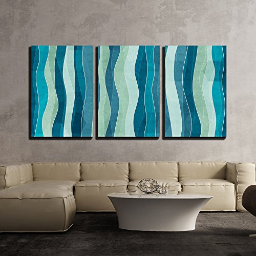 wall26 - 3 Piece Canvas Wall Art - Vector - Abstract Wave Seamless Pattern with Grunge Effect - Modern Home Decor Stretched and Framed Ready to Hang - 16