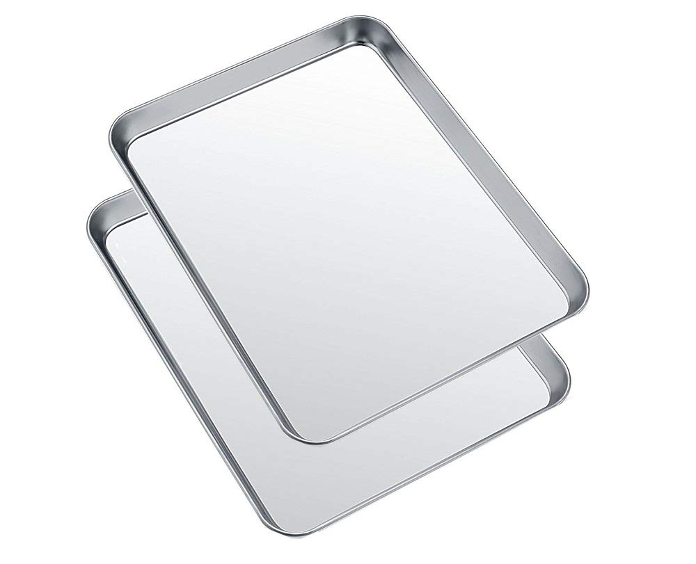 Small Baking Sheets Pans, HEAHYSI Mini Stainless Steel Cookie Sheets & Toaster Oven Tray Pan,Non Toxic & Healthy,Superior Mirror Finish & Easy Clean, Dishwasher Safe, 10 x 8 x 1 inch