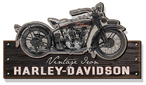 Harley-Davidson Wooden Vintage Iron Motorcycle Silhouette Sign, Black CU-VI-Harl
