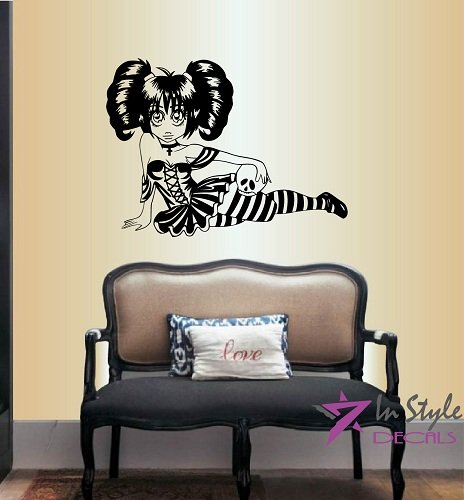[Wall Vinyl Decal Home Decor Art Sticker Anime Manga Gothic Girl with Skull Room Removable Stylish Mural Unique] (Chinese Vampire Costume)