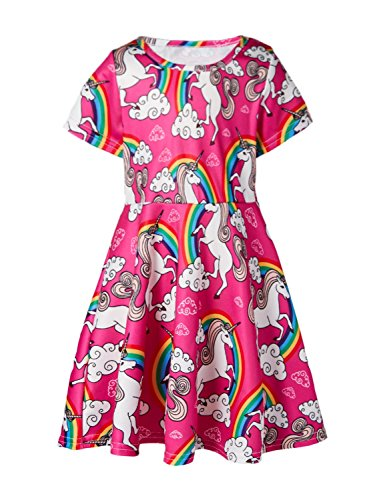 Funnycokid Girls Short Sleeve Rainbow Unicorn Swing School Dresses 2-3 T ()