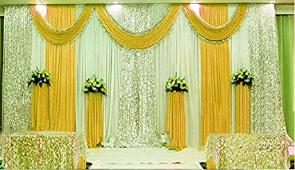 Lb Wedding Stage Backdrop Curtains With Swags Ivory White Silk Ruffle Backdrop Yellow Drape Party Decorations Backdrop For Wedding Birthday Party