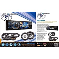 Soundstream VR-345B 1-DIN In-Dash 3.4 LCD Screen Detachable Faceplate DVD CD Built-In Bluetooth V3.0, USB, AUX, Remote Control & a Pair of 6.5 Speakers & a Pair of 6x9 Speakers
