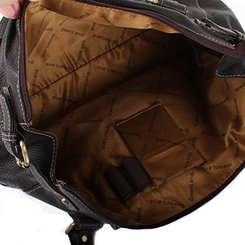 Greenland-nature sac à main pour femme marron cuir nappa doux avec 1 grand compartiment
