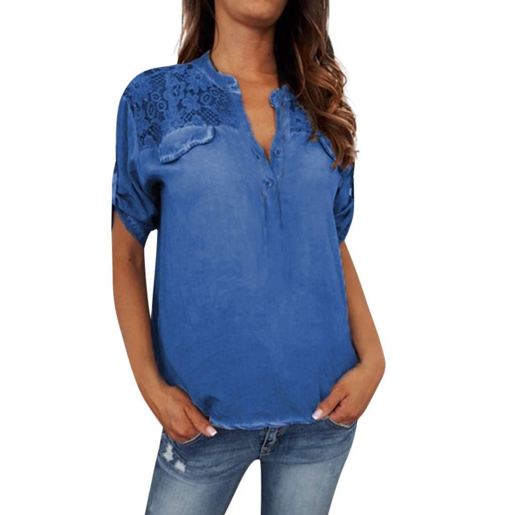 DORIC 2019 New Girls Women's Tops Blouse Long Sleeve Buttons Solid Color V-Neck Lace Patchwork Blue
