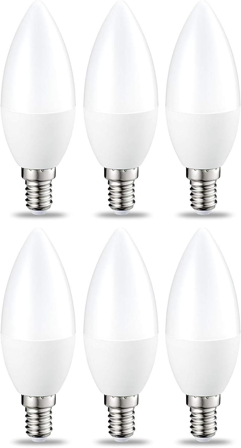 AmazonBasics Bombilla LED E14, 5.5W (equivalente a 40W), Blanco Cálido- 6 unidades