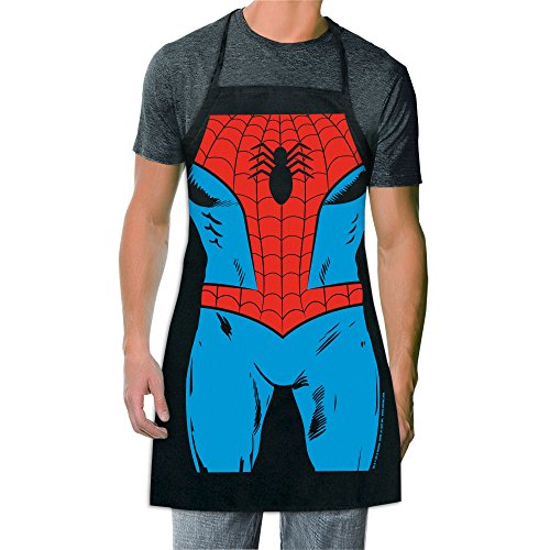 ICUP Marvel - Spider-Man Be The Hero Character Adult Size 100% Cotton Adjustable Black Apron (Comic Retro Old Shirt)