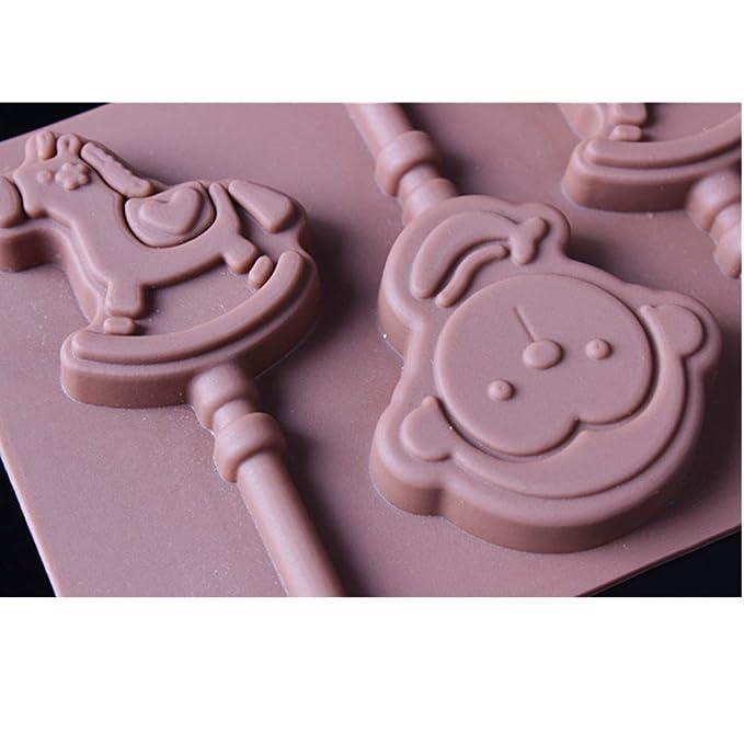 Molde de silicona para chocolate de Pony Monkey, molde de gelatina o cubitos de hielo, 10 unidades: Amazon.es: Hogar