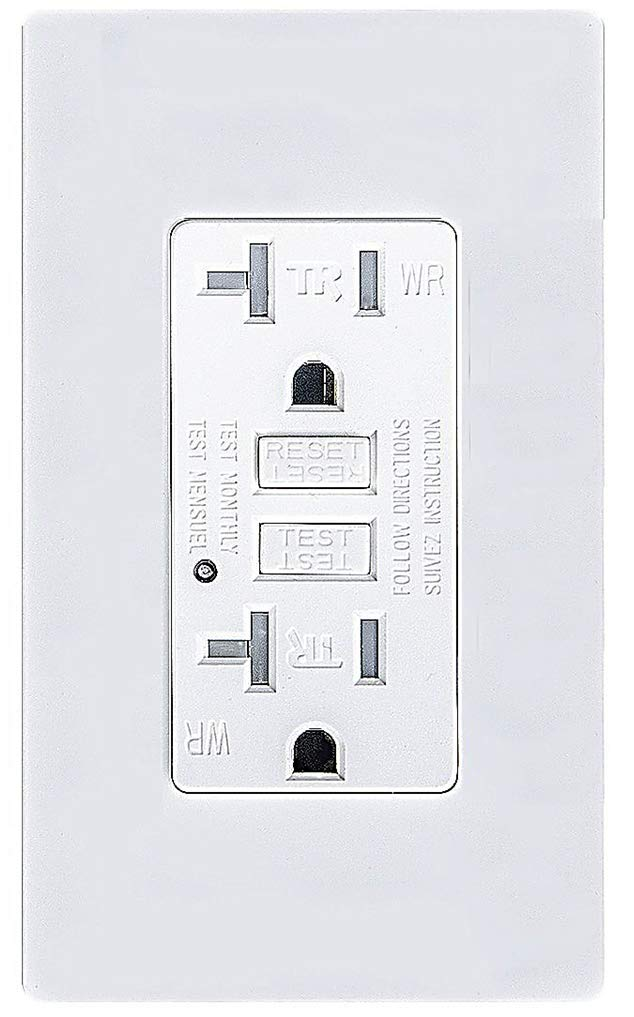 Teklectric - GFCI Receptacle 20A 125V Tamper/Weather Resistant + Wall Plate - GFCI Outlet 20 AMP 125 VOLT Grounded Water/Tamper Resistant Wall Plate Included (1)